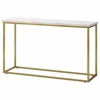 Isabelle Marble Sofa Table With Brushed Brass Legs