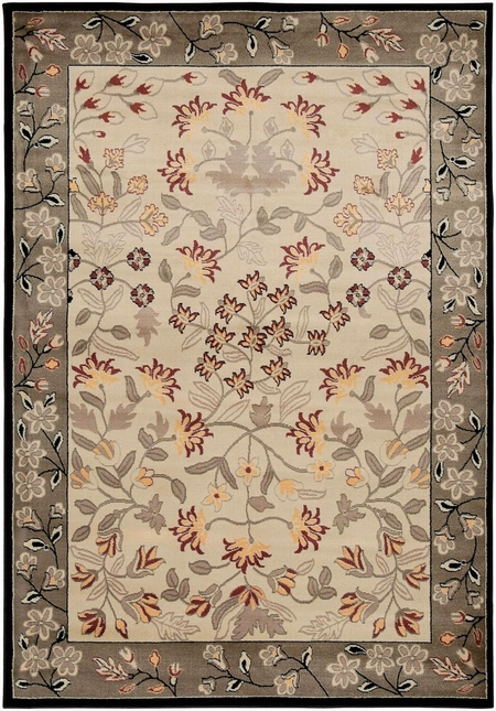 Rizzy Rugs Ivory Floral Power Loomed Area Rug Bayside BS3678