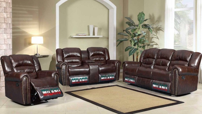 Jacob Brown Bonded Leather Motion Traditional Living Room Set w/ Nail Heads