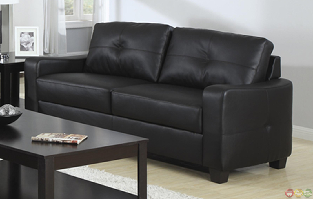Jasmine Contemporary Black Bonded Leather Sofa And