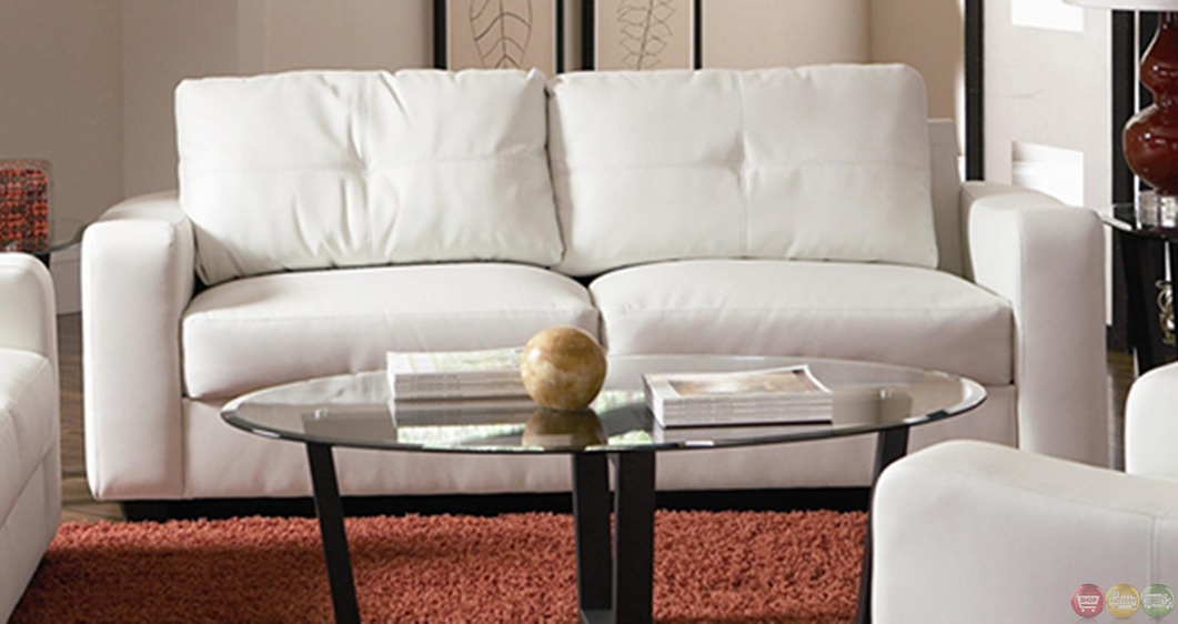 contemporary white bonded leather sofa and