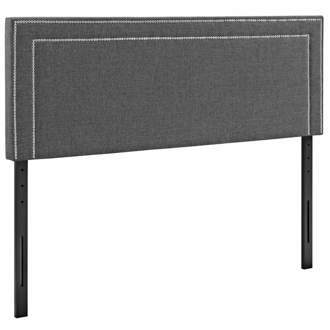 Jessamine King Fabric Square Headboard With Double Nailhead Trim, Gray