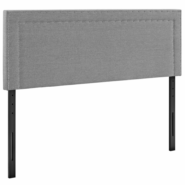 Jessamine King Fabric Square Headboard With Double Nailhead Trim, Light Gray