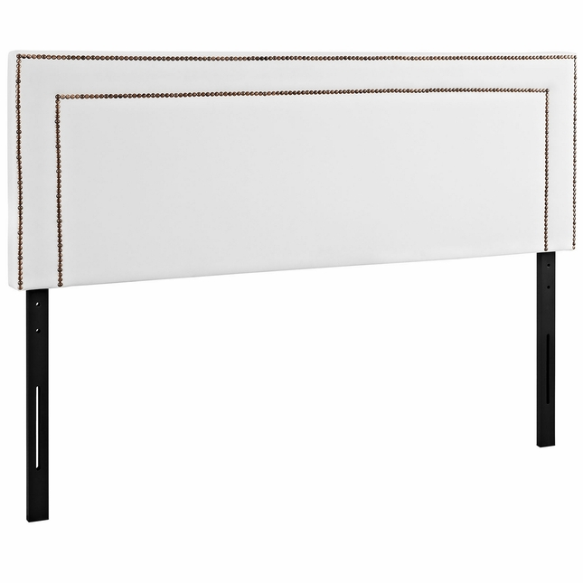 Jessamine King Vinyl Square Headboard With Double Nailhead Trim, White
