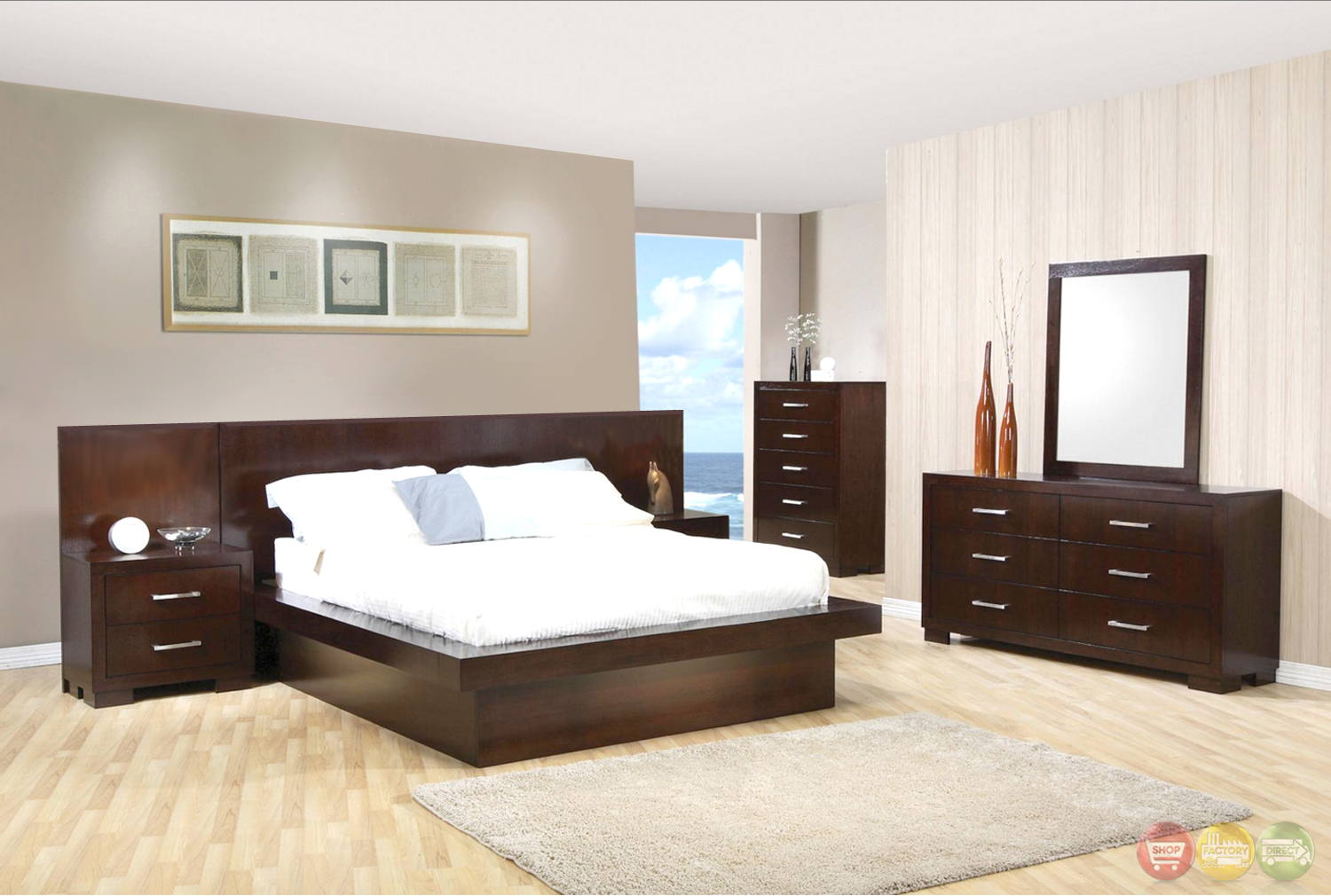 jessica modern platform cappuccino finish bedroom set free