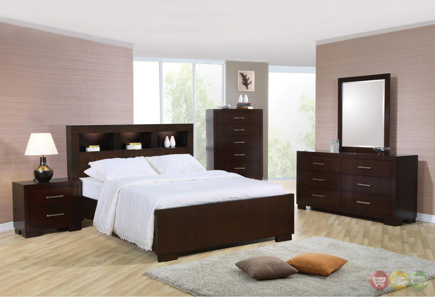 queen contemporary bed storage headboard w lights cappuccino finish. Black Bedroom Furniture Sets. Home Design Ideas