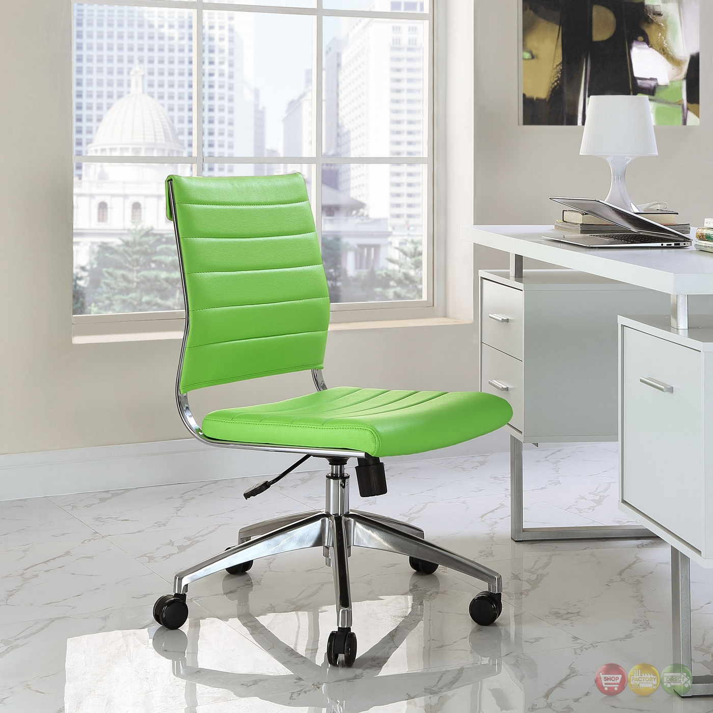 Jive Armless Upholstered Ribbed Vinyl Mid Back Office ...