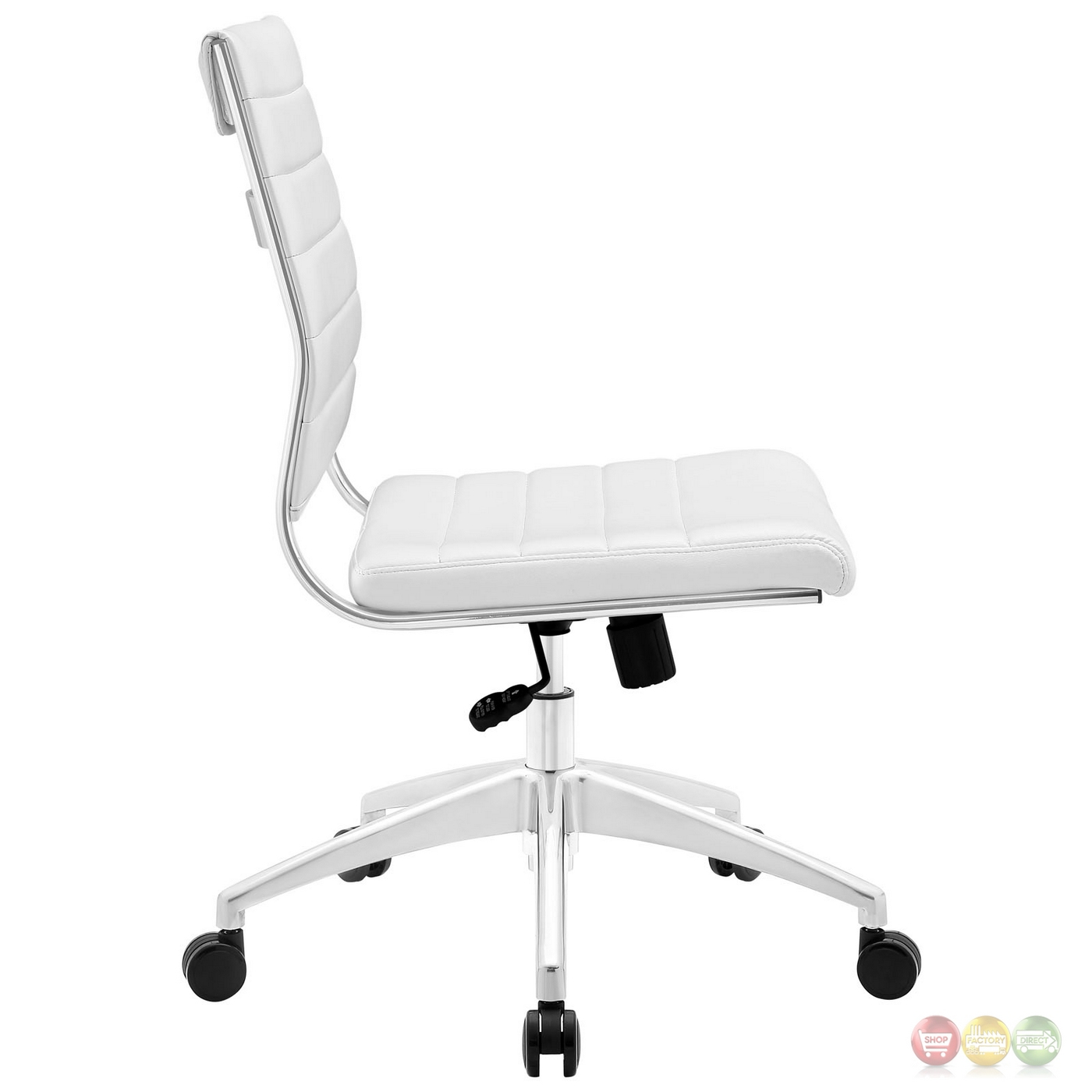 jive armless upholstered ribbed vinyl mid back office chair white