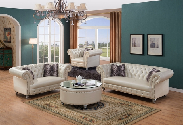 Josephine Glam Crystal Tufted Sofa & Loveseat Set In Beige Bonded Leather
