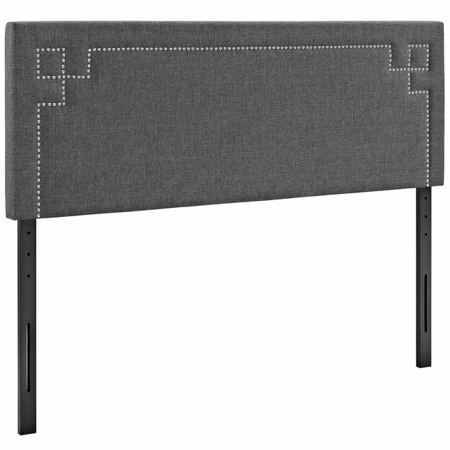 Josie King Fabric Headboard With Silver Nail Head Trim, Gray