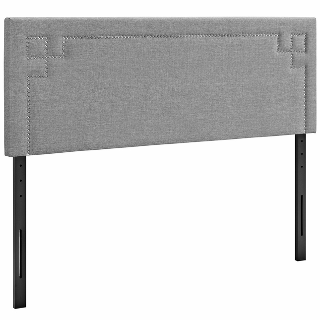 Josie King Fabric Headboard With Silver Nail Head Trim, Light Gray