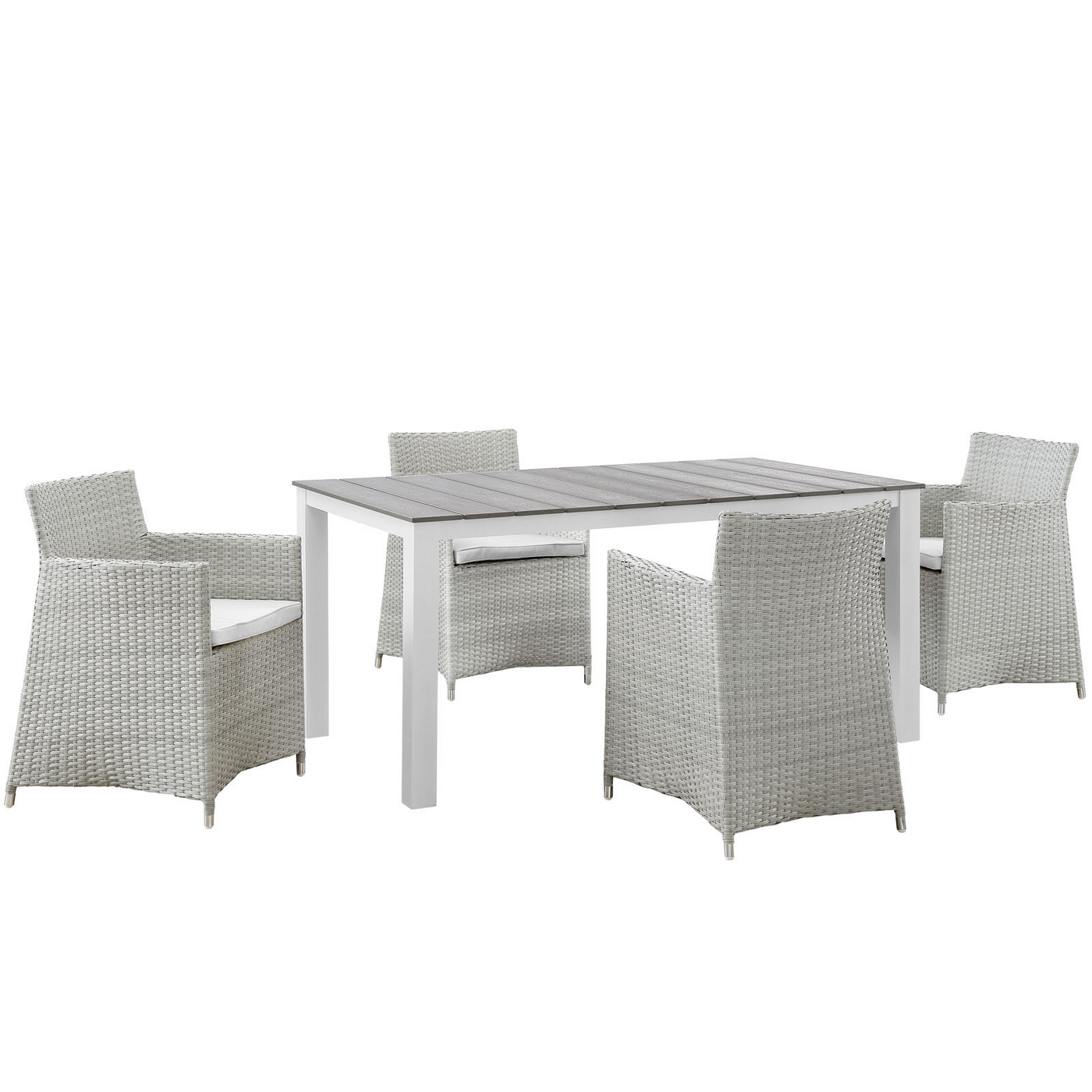 Junction Contemporary 5pc Outdoor Patio Wicker Dining Set Gray White