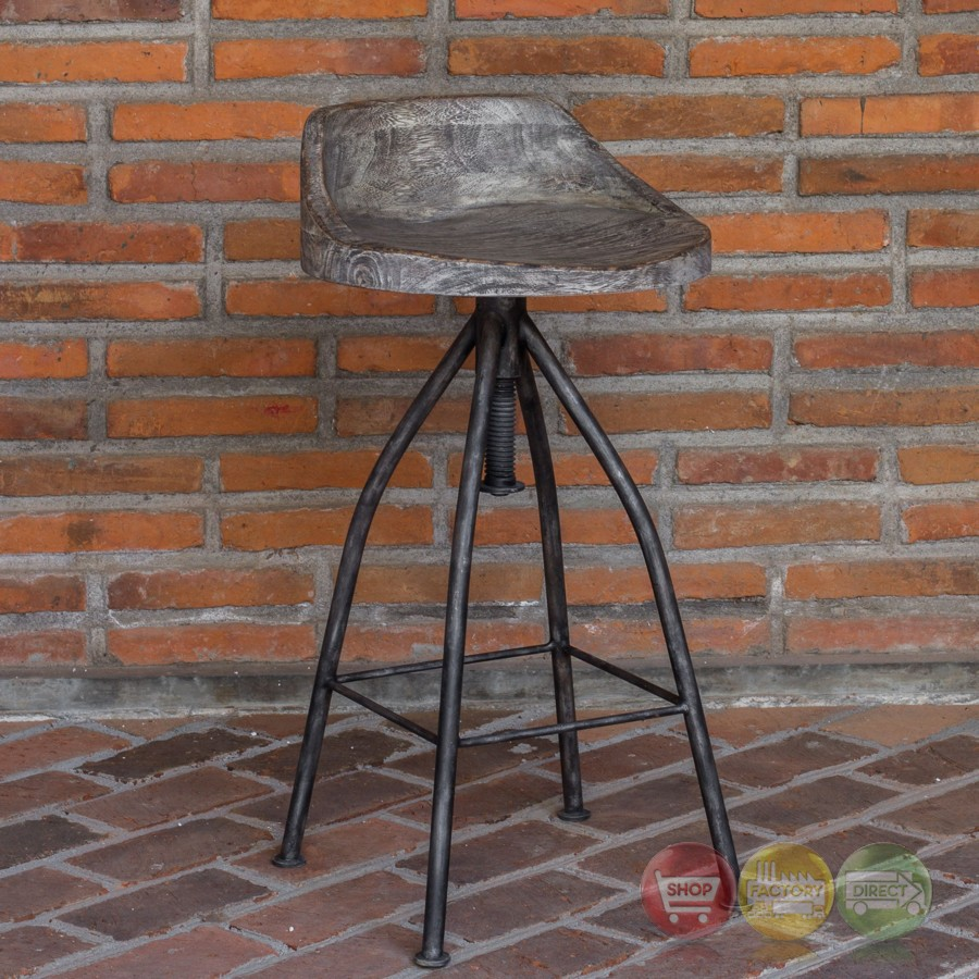 Kairu Rustic Wood Iron Bar Stool With Industrial Swivel