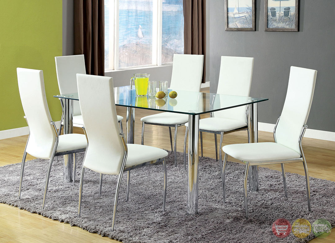 Kalawao Contemporary White And Chrome Casual Dining Set