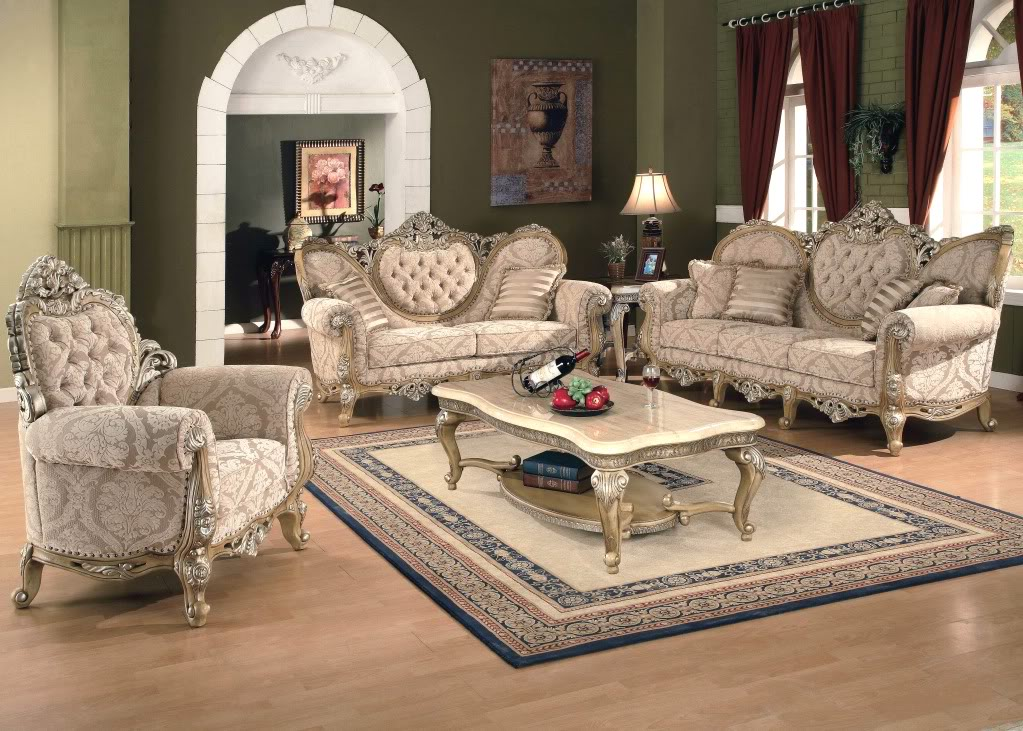 Living Room Furniture: Kalonice Luxury Victorian Formal Living Room Furniture Set