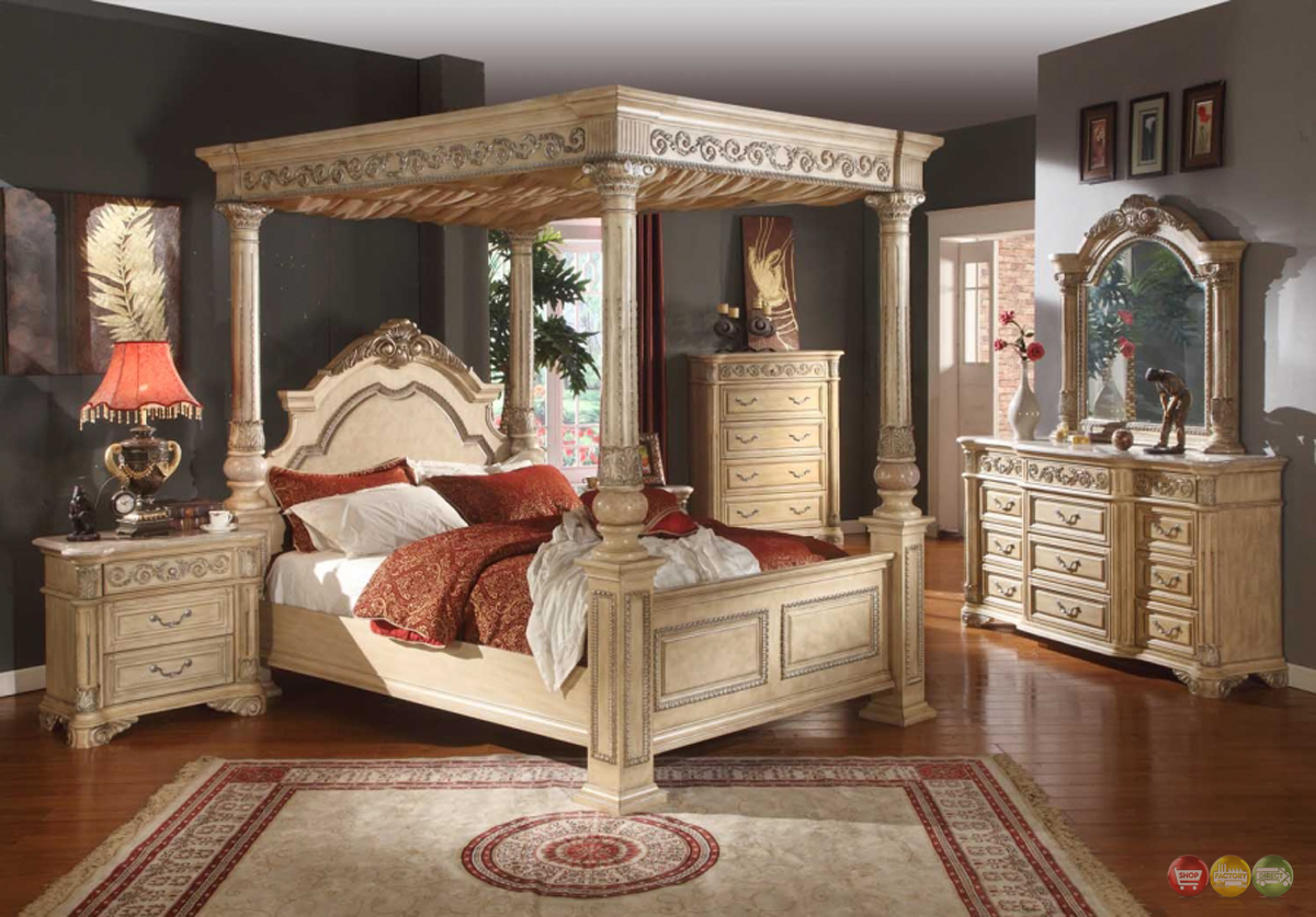 kamella antique white traditional queen poster canopy bed 4 piece
