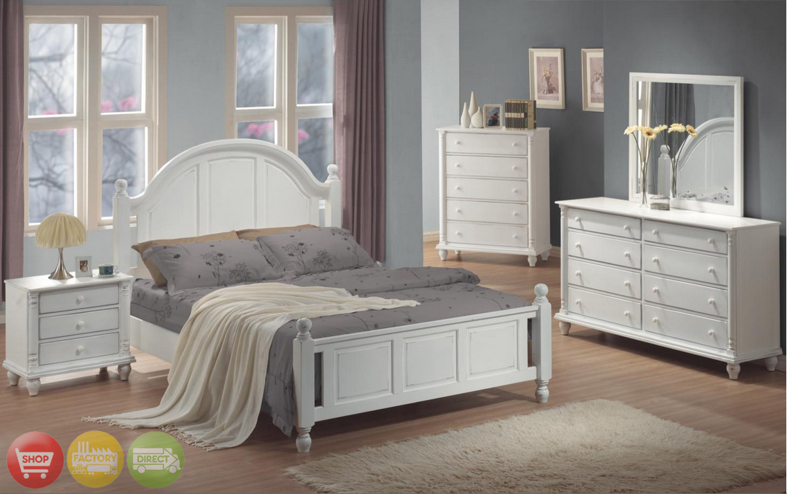Kayla Transitional White Finish Bedroom Furniture Set