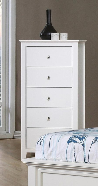 Kelly Five Drawer Wood Chest White Gloss Finish