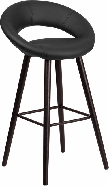 Kelsey 29'' High Contemporary Black Vinyl Barstool W/ Cappuccino Wood Frame