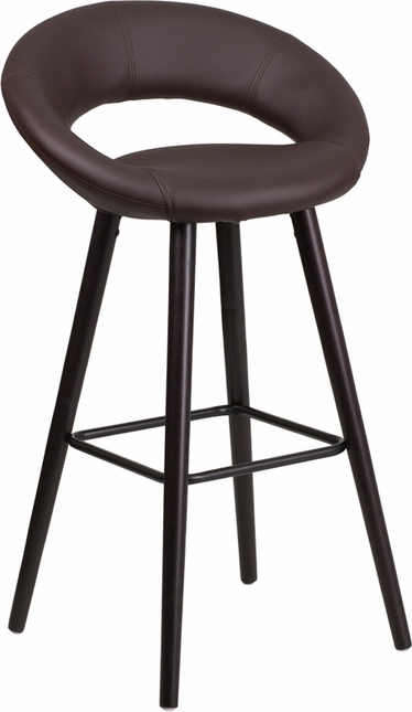 Kelsey 29'' High Contemporary Brown Vinyl Barstool W/ Cappuccino Wood Frame