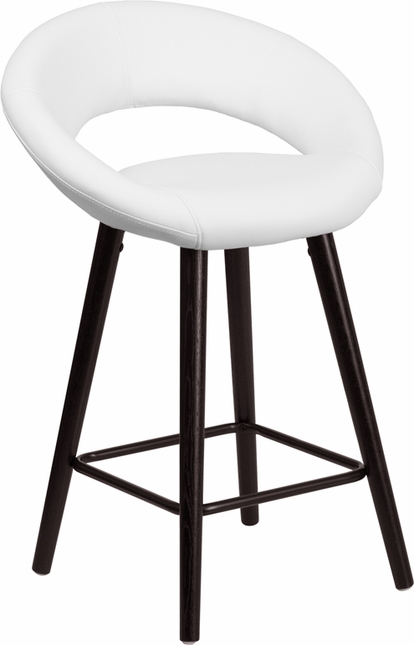 Kelsey Contemporary White Vinyl Counter Height Stool W/ Cappuccino Wood Frame