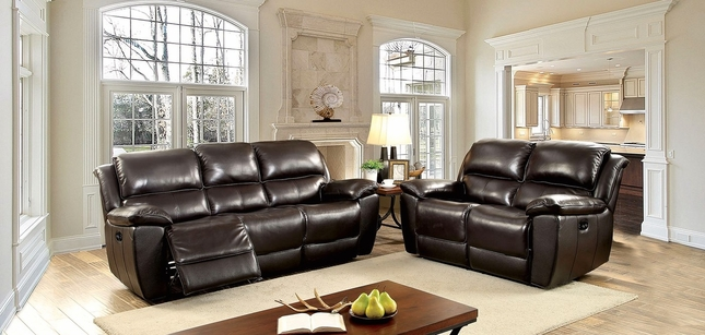 Kendra Casual Brown Dual Reclining Sofa & Loveseat In Top Grain Leather