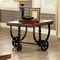 Kendra Industrial Wood End Table with Black Metal Suspension Style Base