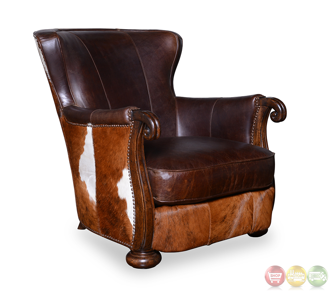 Kennedy Walnut Cow Hide Leather Lounge Accent Chair