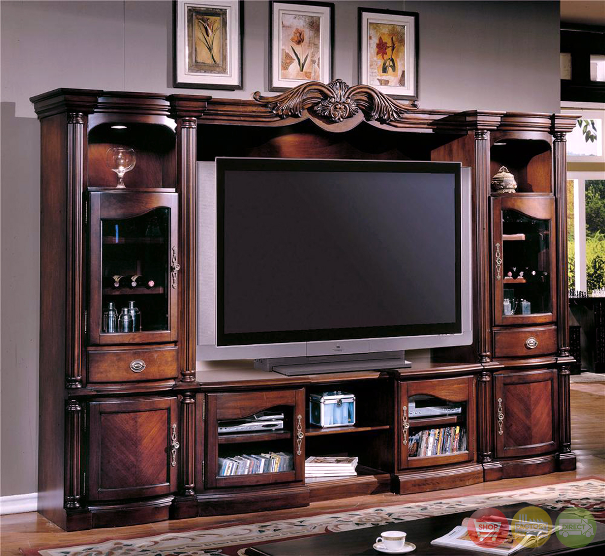 Pc traditional wall unit large tv entertainment center ken for Traditional wall units