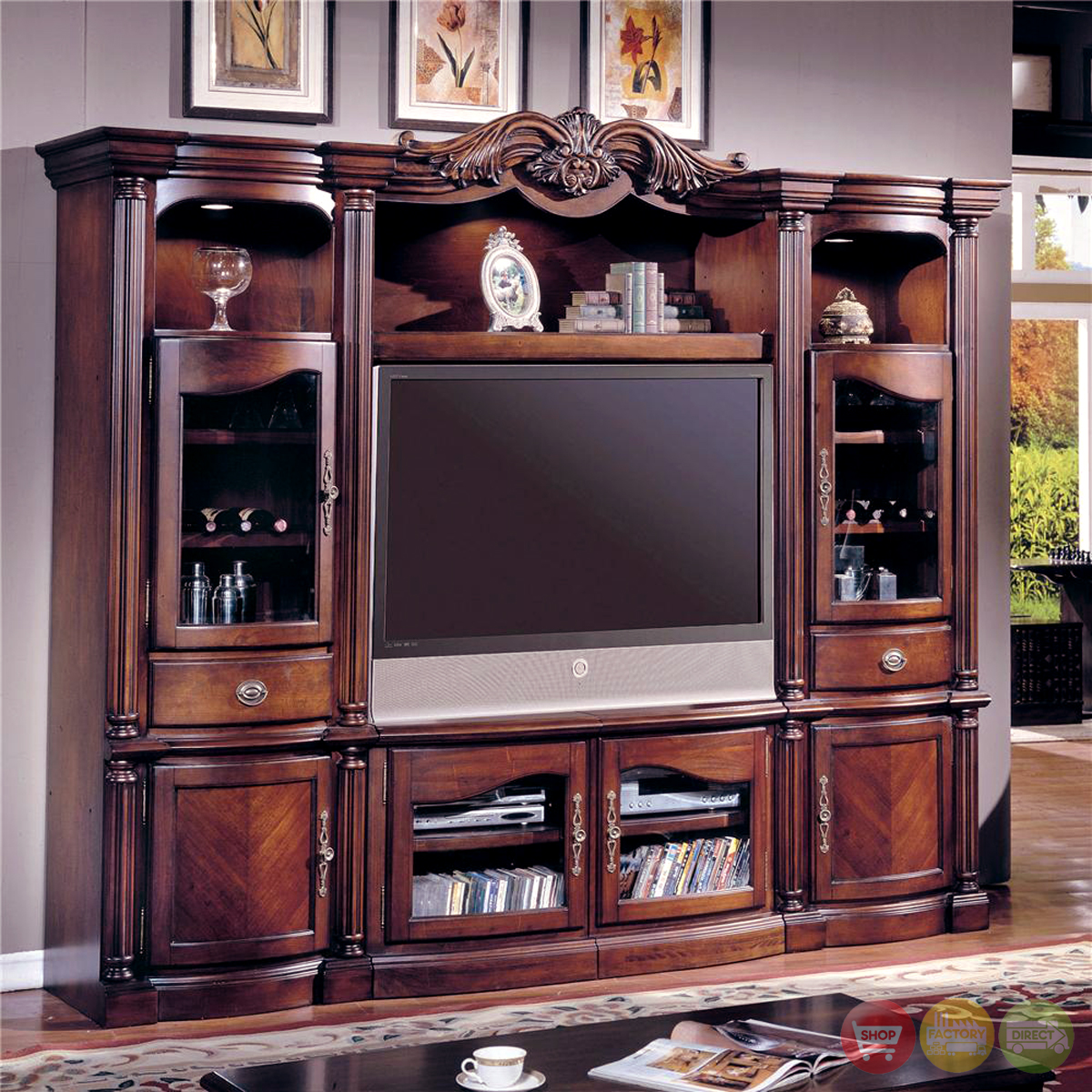 Oak tv entertainment center wall unit furthermore value for Traditional wall units