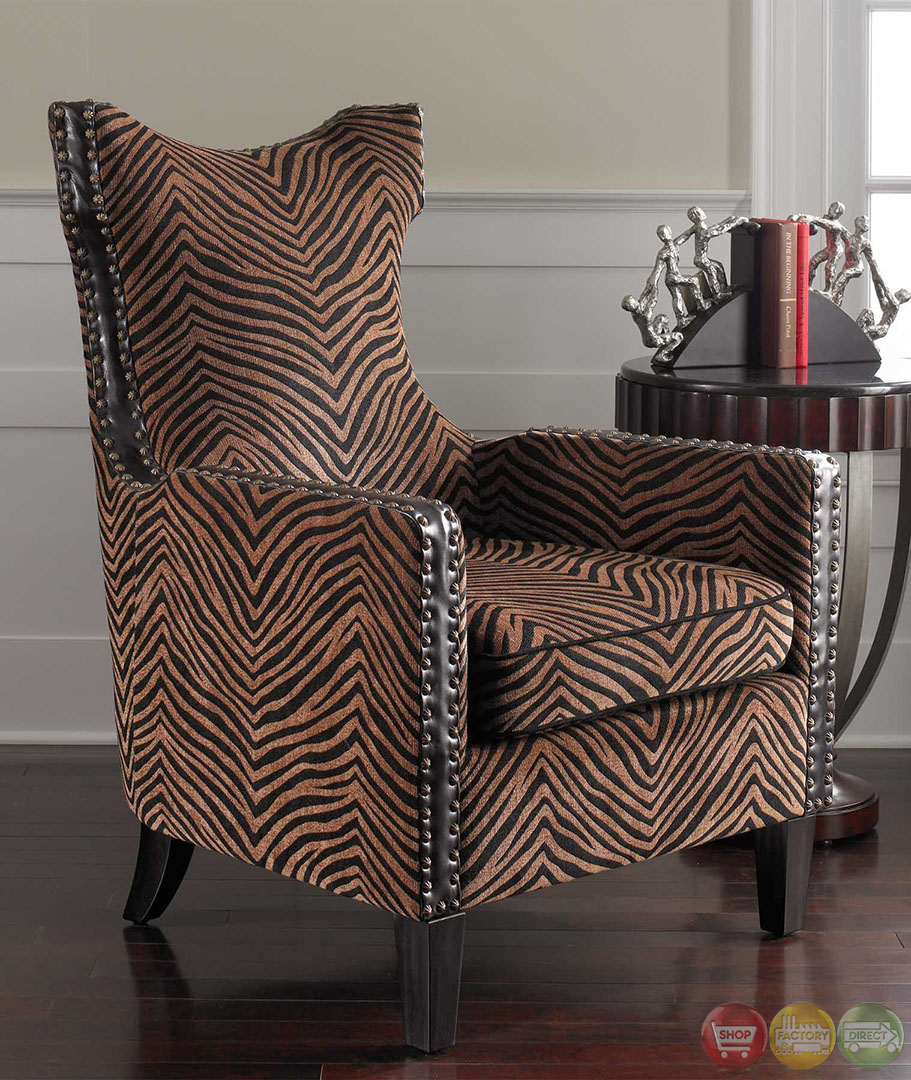 Missoni Style Print Accent Chair: Kimoni Zebra Animal Print Wing Back Accent Armchair 23003