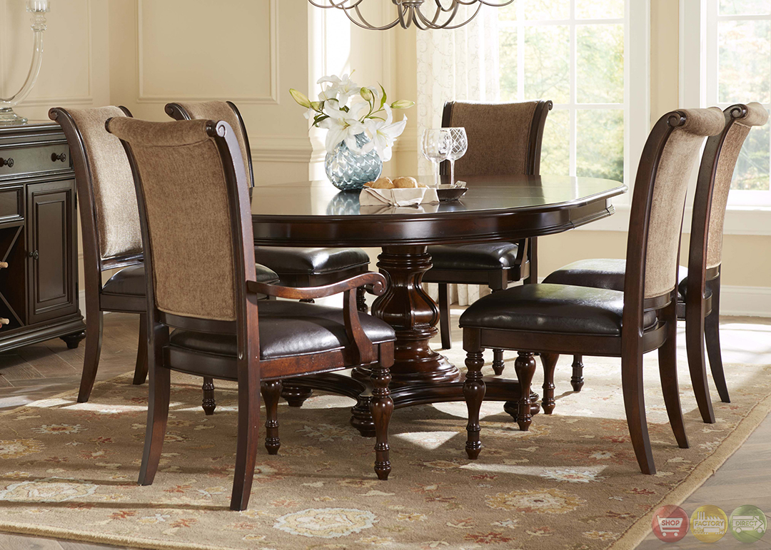 Kingston plantation traditional oval table chairs 7 pc - Elegant dining room chairs ...