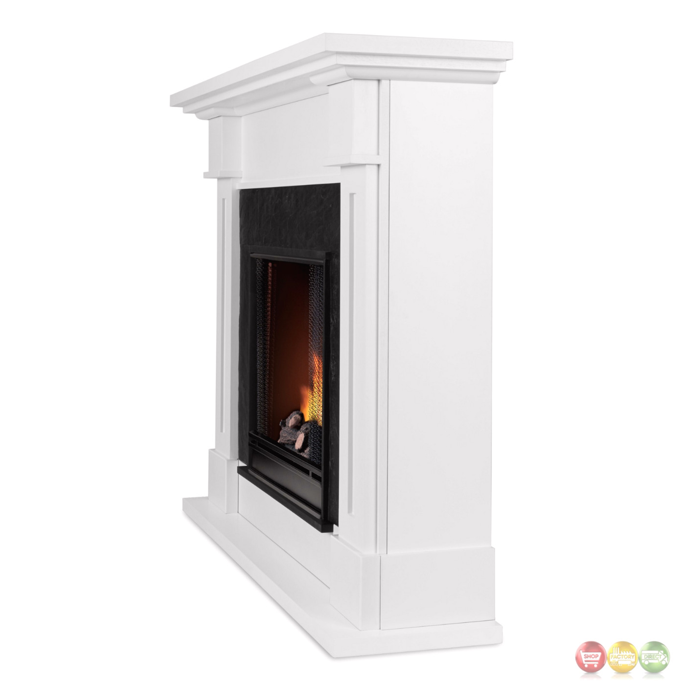 Kipling Ventless Gel Fuel Fireplace In White With Cast
