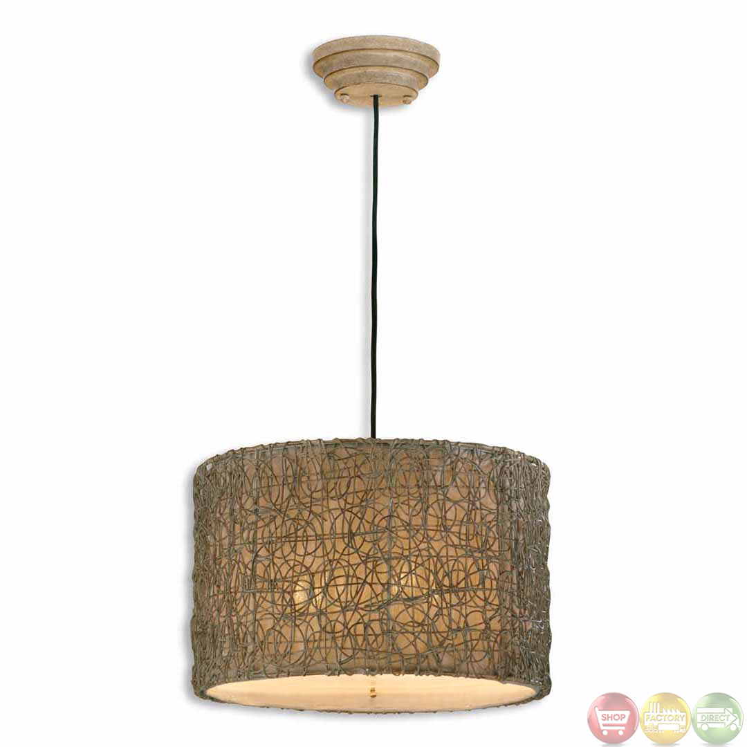 Knotted Rattan Modern Light Drum Pendant 21105