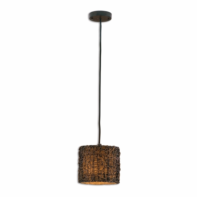 Knotted Rattan Modern Mini Drum Pendant 21832