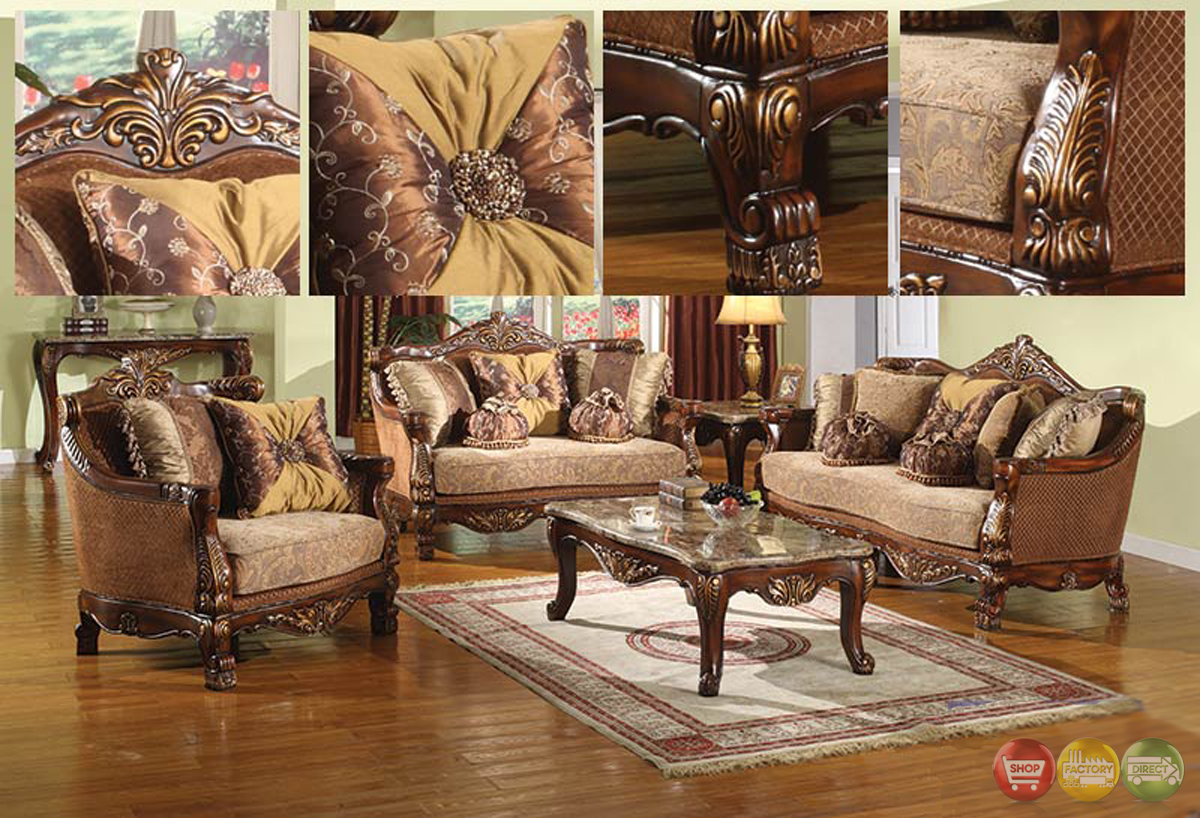 La petit traditional style living room furniture sofa set carved wood frames