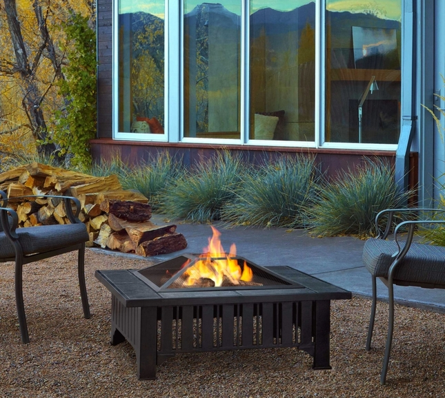 "Lafayette Outdoor 34"" Square Fire Pit In Black With Dark Slate Top"