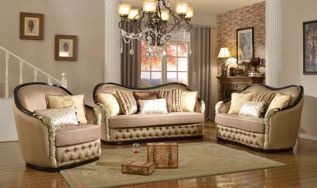 Lafayette Traditional Curved Beige Sofa & Loveseat With Black & Gold Wood Frame