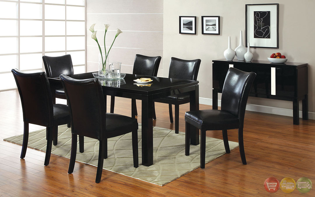 Black Casual Dining Set With Leatherette Parson Chairs CM3176BK