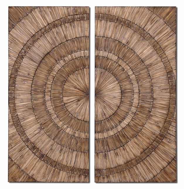 Lanciano Traditional Hand Pieced Natural Wood Chips Wall Art  07636