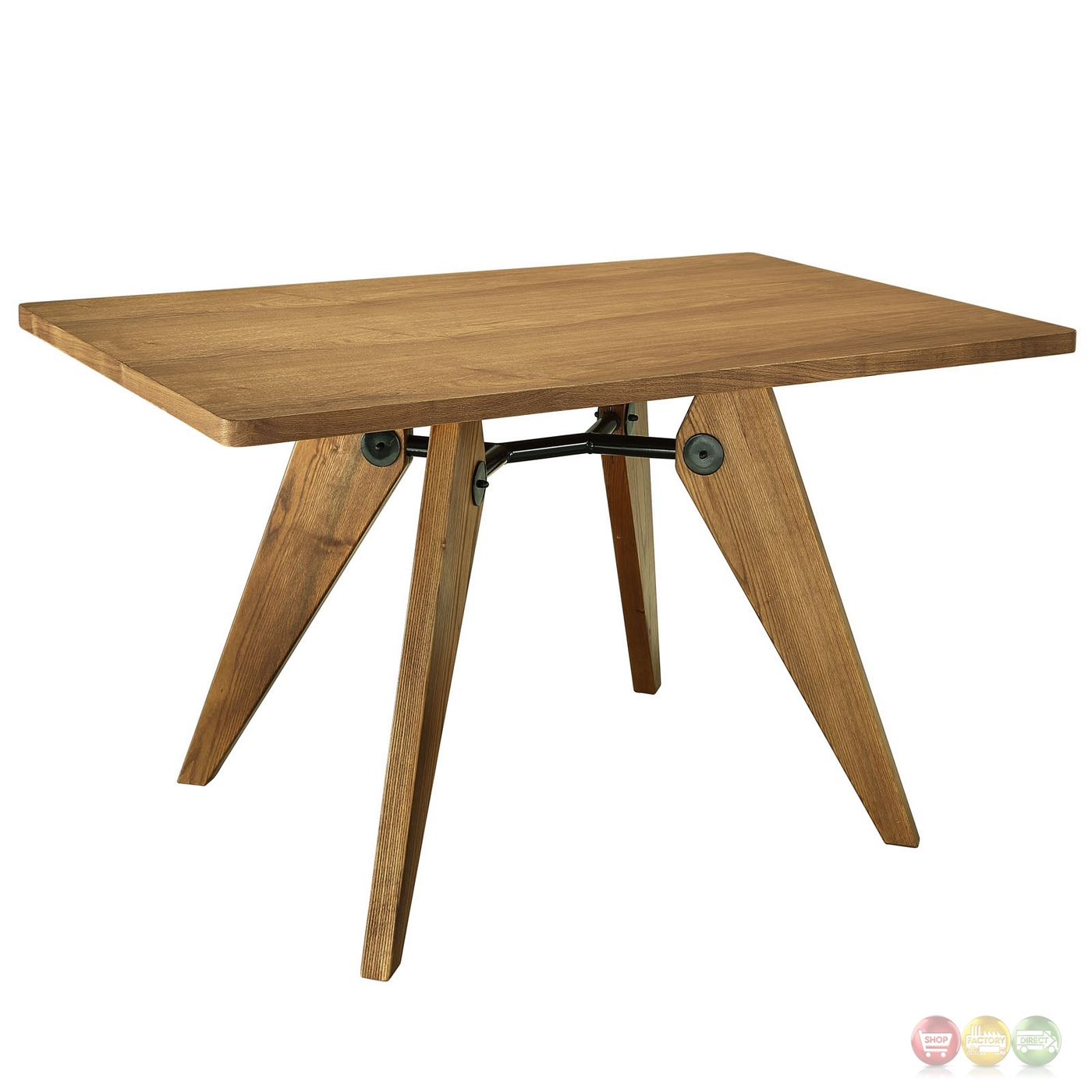 Landing 32quot Round Dining Table In Natural Wood Finish W  : landing 32 round dining table in natural wood finish w metal accents walnut 4 from shopfactorydirect.com size 1400 x 1400 jpeg 335kB