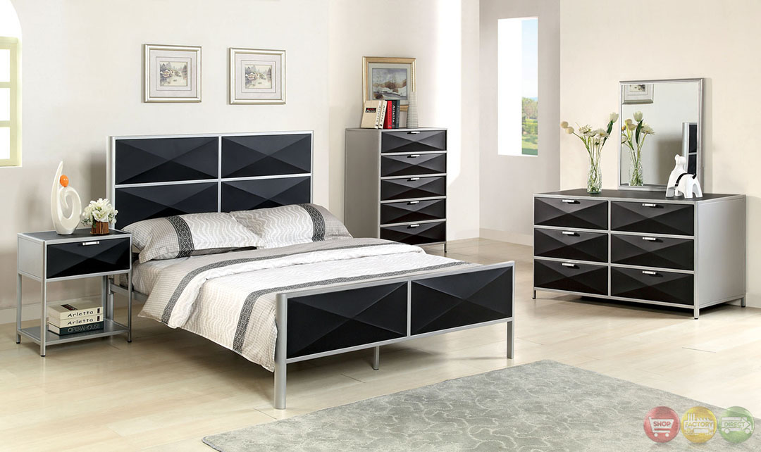 largo contemporary silver and black youth bedroom set with x shape