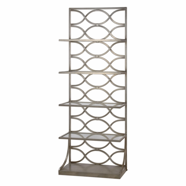Lashaya Hand Forged Silver Leaf Iron Etagere With 4 Tempered Glass Shelves