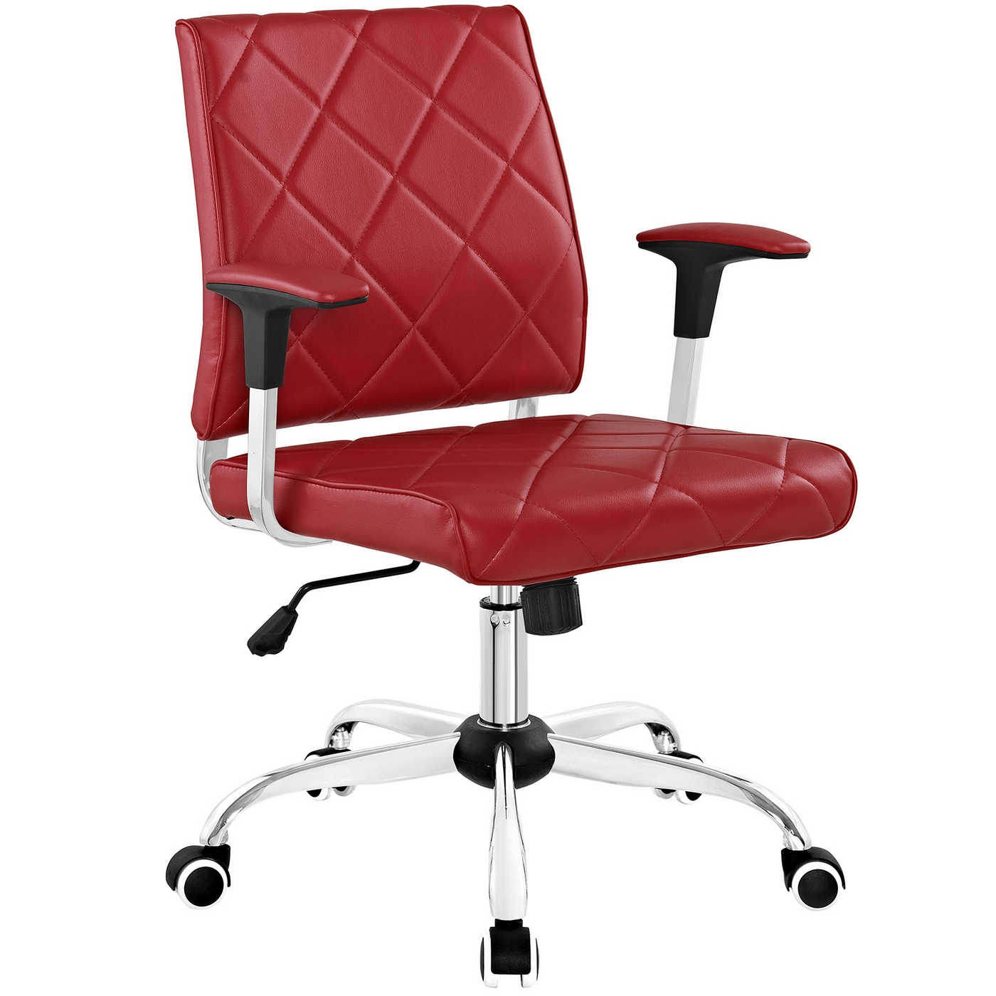 lattice modern patterned vinyl office chair with chrome base red