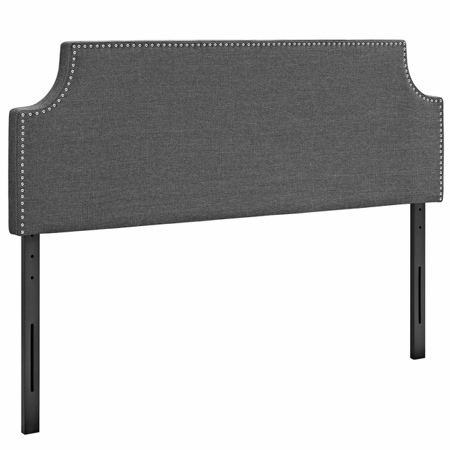 Laura King Fabric Belgrave Headboard With Silver Nail Head, Gray