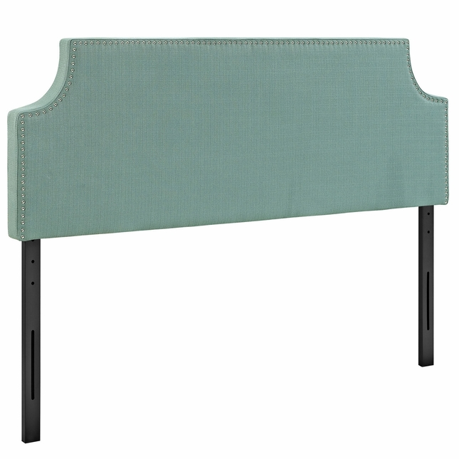 Laura King Fabric Belgrave Headboard With Silver Nail Head, Laguna