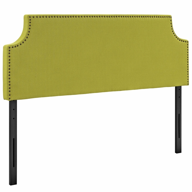 Laura King Fabric Belgrave Headboard With Silver Nail Head, Wheatgrass