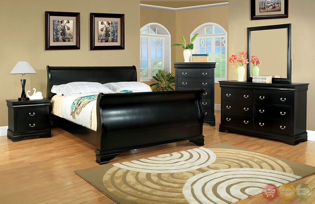 Laurelle Traditional Black Sleigh Bedroom Set With Bracket Feet