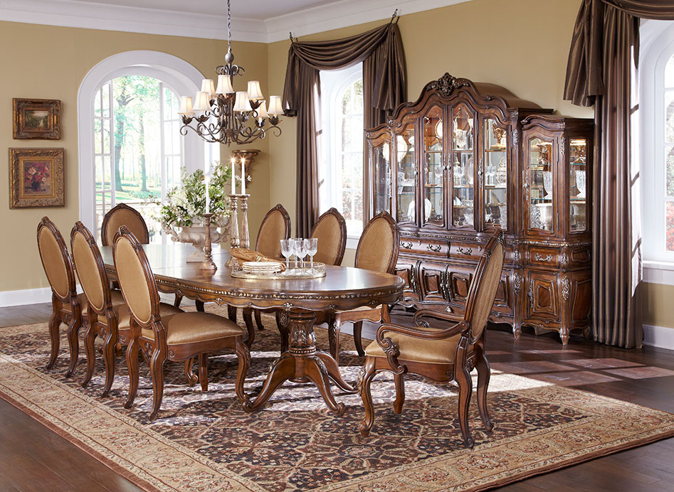 michael amini lavelle melange finish dining room set by aico