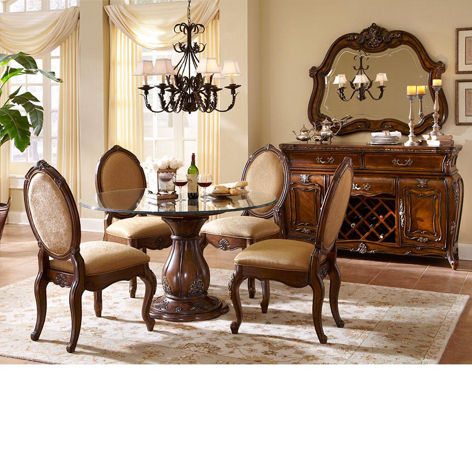 Aico Dining Room Sets: Michael Amini Lavelle Melange Finish Round Table Dining Room Set By AICO